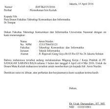 contoh surat izin kuliah karena kerja praktek mata kuliah mahasiswa