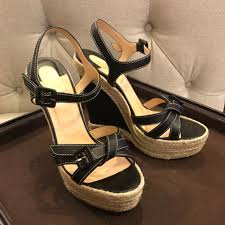 christian louboutin black espradille platform sandals wedges size