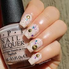 liquid jelly nail art gold shells and gemstones