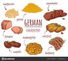 cuisine en allemand cuisine allemande collection de plats délicieux éléments isolés