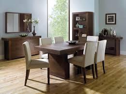 akita walnut 6 seater panel dining table u0026 6 square back ivory