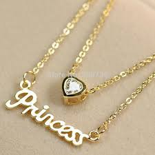 crystal necklace gold chain images 2 layers gold color princess heart crystal chain necklace women jpg