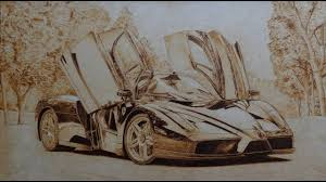 ferrari enzo sketch 2003 ferrari enzo pirograbado pyrography car youtube