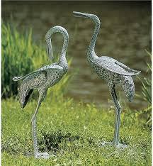 bird garden sculptures garden statues wind weather metal heron