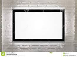 empty room with hd tv at the wall stock photo image 51636492