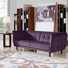 Set Sofa Modern Venice Button Tufted Sofa Set Purple Fabric 2 Pc Sofa