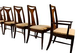 mid century modern walnut high back dining chairs