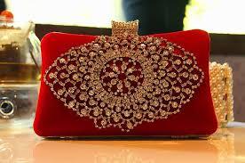 Bridal Makeup Box Fashion Ladies Bridal Hand Bag Crystal Rhinestone Designer Red