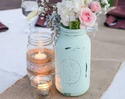 jar centerpieces for weddings mint jar etsy