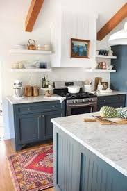 Blue Painted Kitchen Cabinets Dark Base Cabinets White Top Cabinets Open Wood Shelves And Big