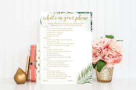what u0027s in your phone game printable tropical baby shower