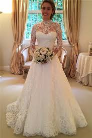 affordable bridal gowns sleeve high neckline lace a line wedding dresses open