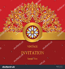 Christmas Invitation Cards Template Invitation Card Templates Gold Patterned Crystals Stock Vector