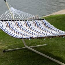 Cypress Hammock Stand Island Bay 13 Ft Thick Stripe Pillow Top Hammock With Steel Stand