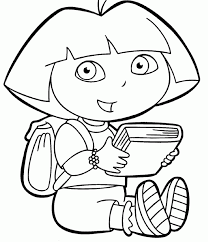 dora the explorer coloring pages and a book cartoon coloring