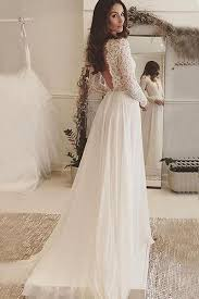 chiffon wedding dress v neck sleeves backless ivory chiffon wedding dress with lace