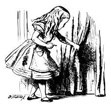 alice in wonderland 3 alice with a key black white line art tatoo