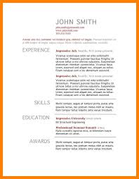 5 standard resume template list of reference
