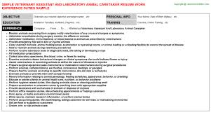 Kennel Assistant Resume Veterinary Assistant And Laboratory Animal Caretaker Resume Sample