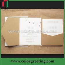 pocket fold customized design kraft paper envelope popular pocket fold wedding