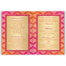 indian wedding invitation card orange fuchsia gold damask