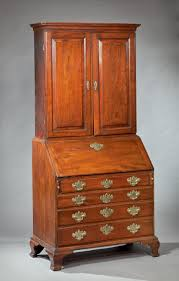 chippendale desk and bookcase signed by daniel spencer bernard