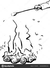 outline sketch of roasting marshmallow over fire outline u2014 stock