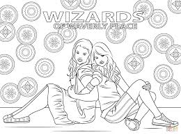 harper and alex from wizards of waverly place coloring page free