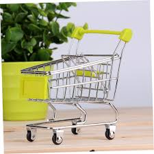 storage mini shopping cart trolley desktop decor ornament toys