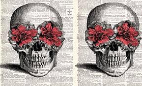 pink flower skull vintage bigshocking