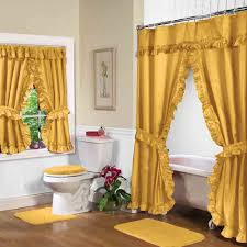 gold shower curtain with valance for luxury bathroom decor