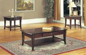 classic dark brown coffee table u0026 end tables 3pc set w drawer