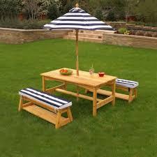table u0026 bench set with cushions u0026 umbrella navy u0026 white stripes