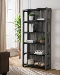 bookcase display slatted shelf distressed grey contemporary veneer