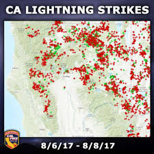northern california sees more than 3 000 lightning strikes in 48