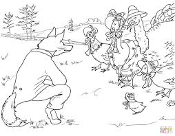 fox invites birds to it u0027s lair coloring page free printable