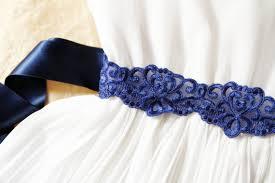 navy blue lace ribbon bridal embroidery lace ribbon sash belt wedding dress sashes