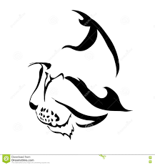 outline cat or bobcat face logo or tattoo stock vector image