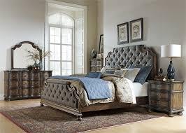 upholstered bedroom set valley upholstered bed 6 piece bedroom set in weathered oak finish