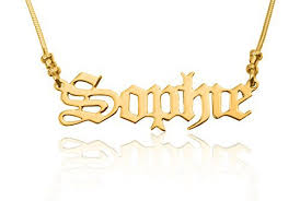 Customized Name Necklace 925 Sterling Silver Old English Style Script Name Necklace 24k
