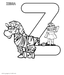 little abby and a zebra the letter z coloring page
