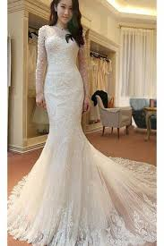 ivory long sleeves mermaid lace appliques tulle beach wedding