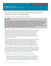 contacting hard to locate medicare and medicaid members tips for