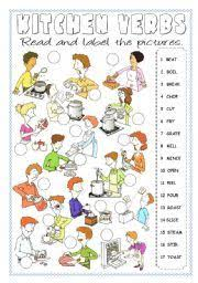cooking verbs esl vocabulary worksheets esl ideas pinterest