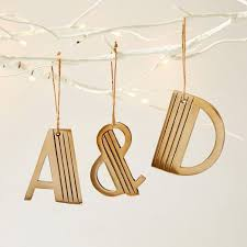 typographic tree adornments metal letter ornaments