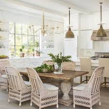 Reclaimed Wood Dining Table With Wicker Dining Chairs Kitchens - Wicker dining room chairs