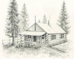 log cabin drawings log cabin drawing etsy