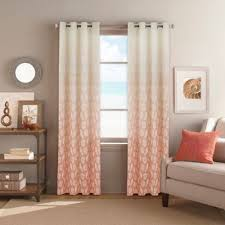Coral And Gray Curtains Buy Seascape Grommet Top 84 Inch Window Curtain Panel In Coral