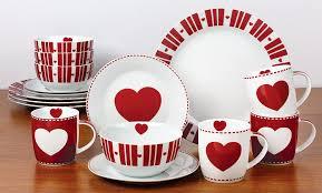 16 piece nordic heart dinner set amazon co uk kitchen u0026 home