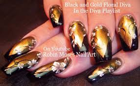 robin moses nail art gold and black flower diva nails up today
